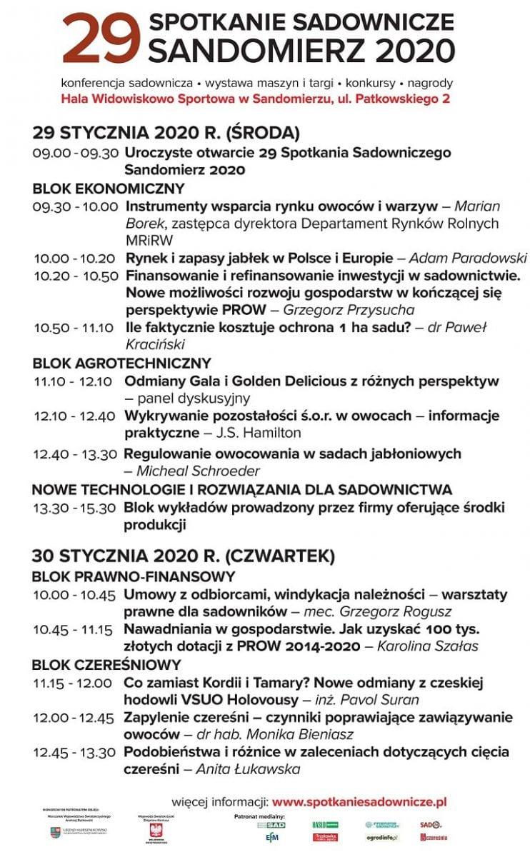29 Spotkanie Sadownicze Sandomierz 2020 - program konferencji i targów