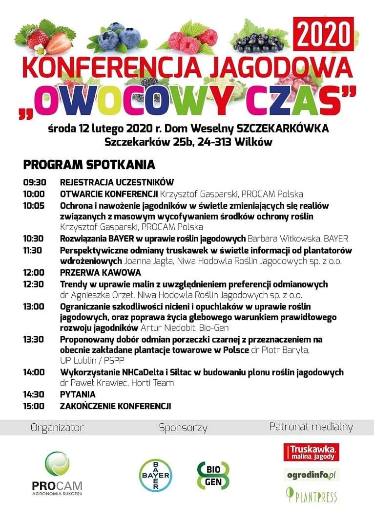 """Konferencja """"Owocowy czas"""" - rośliny jagodowe - luty 2020 - program"""