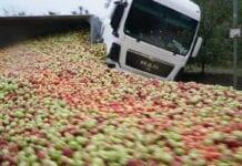 tony jabłek na drodze