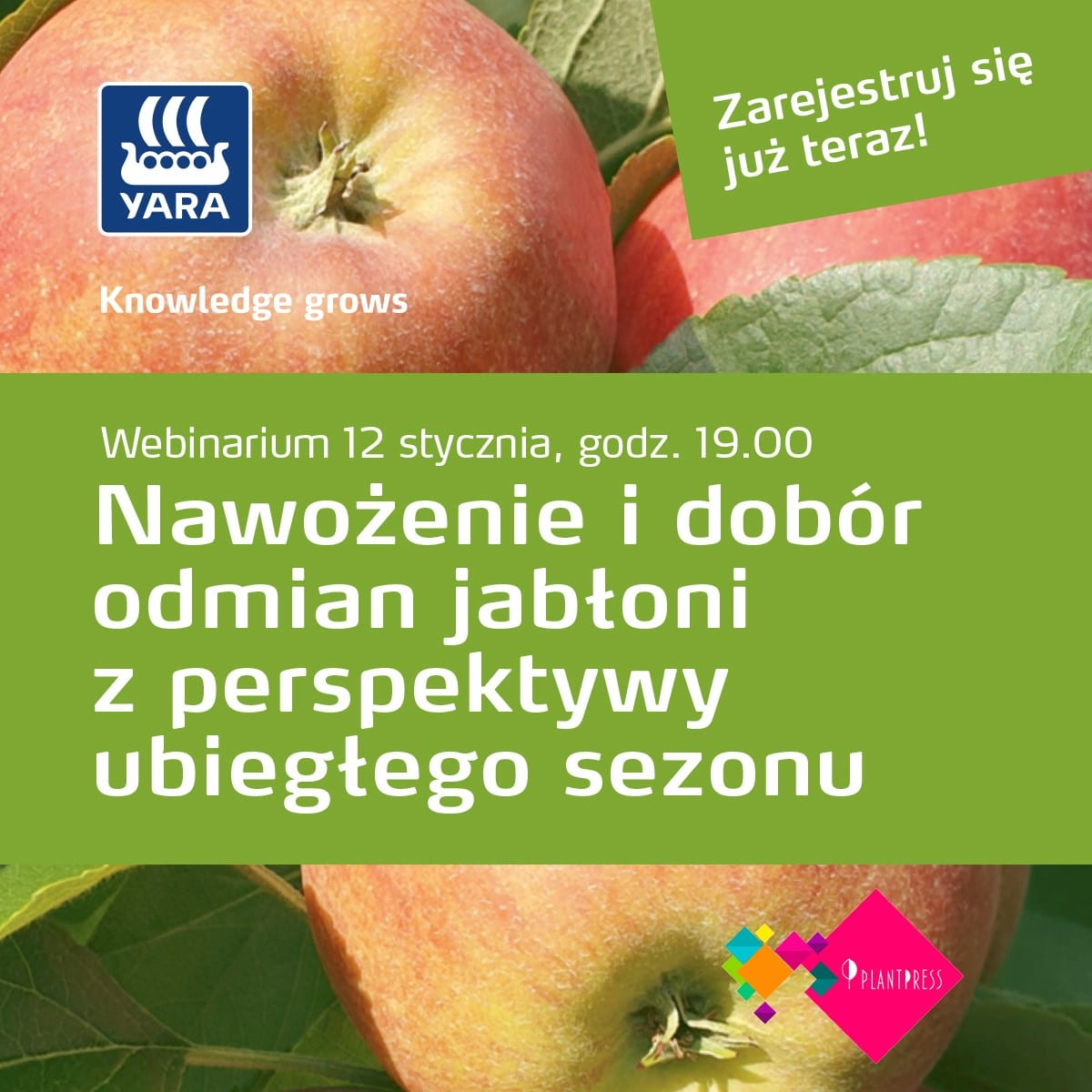 Nawożenie jabłoni 2021 - Yara - Zaproszenie na webinarium