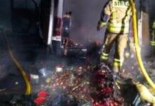 spalił się bus z jabłkami
