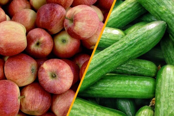 ogorki i jabłka z Rosji