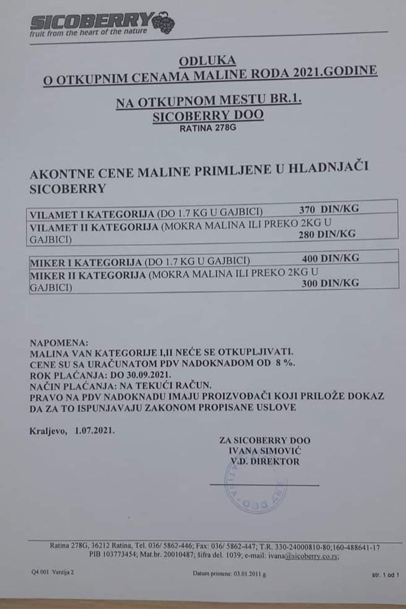 ceny malin w Serbii
